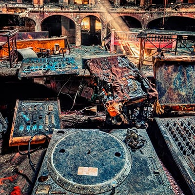Old music machines in theatre